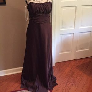 Chocolate brown David bridal gown size 6